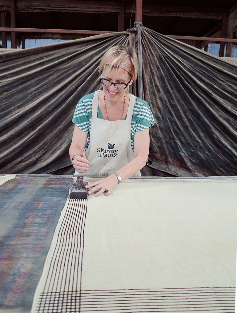 Heather Moore of Skinny laMinx block printing in Jaipur. Pic: Heather Moore Oct2014
