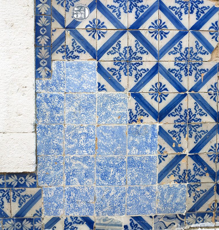 blue-tiles-mended-18-june Lisbon. Photo: Heather Moore