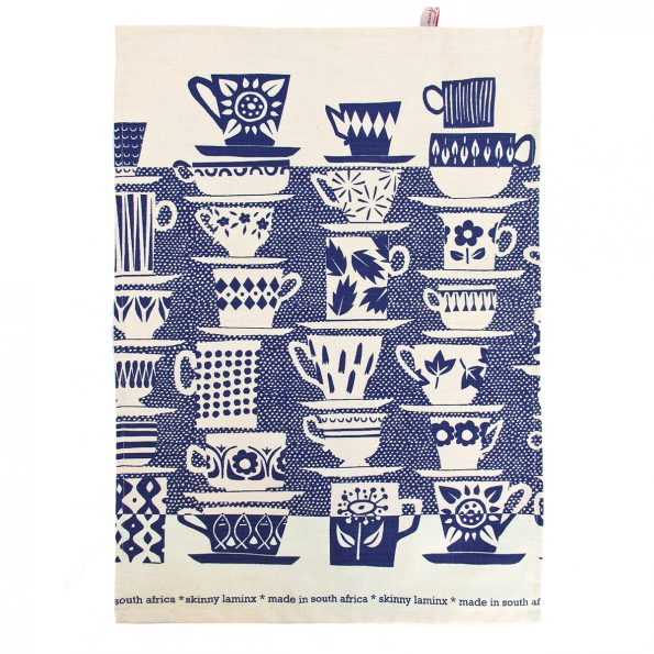 Skinny laMinx Tea Towel When Everyone Came To Tea China Blue