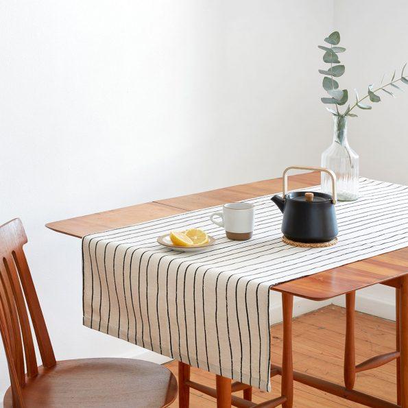 Skinny laMinx Table Runner Simple Stripe Liquorice crop
